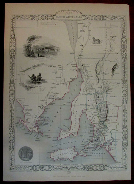 Adelaide South Australia 1851 Tallis map Kangaroo Island York pictorial scenery