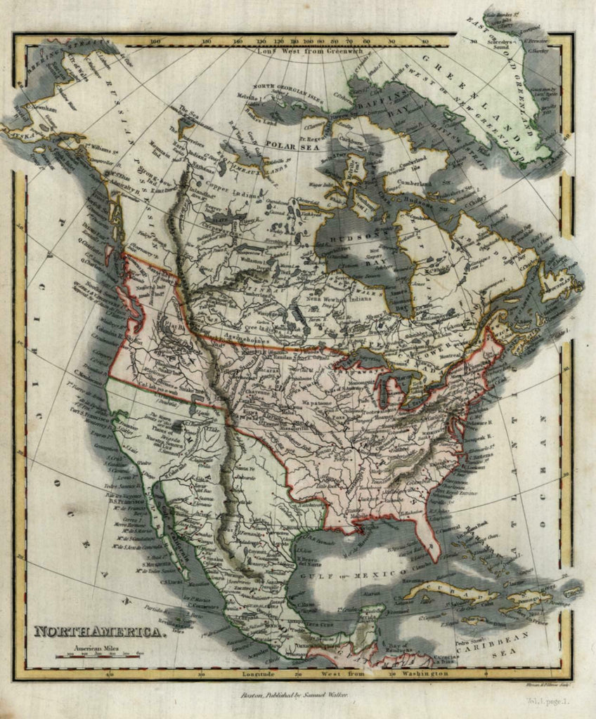North American Continent w/ unknown & doubtful lakes 1846 Walker map hand color