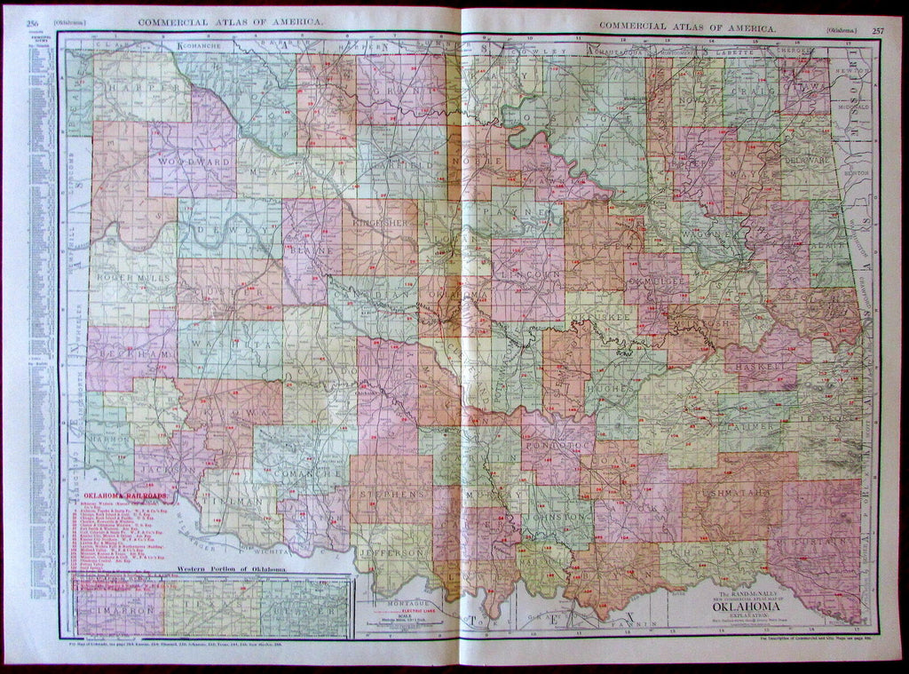 Oklahoma early statehood map c.1913 huge Rand McNally detailed map