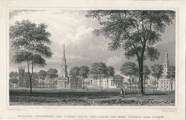 Yale College campus at New Haven CT ca. 1855 engraved U.S. view print