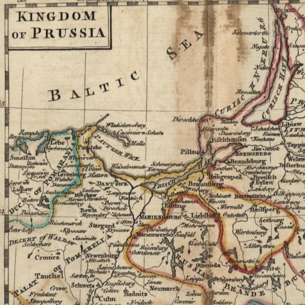 Prussia Kingdom Lithuania Brandenburg 1768 Dury Bayly miniature old map Baltic