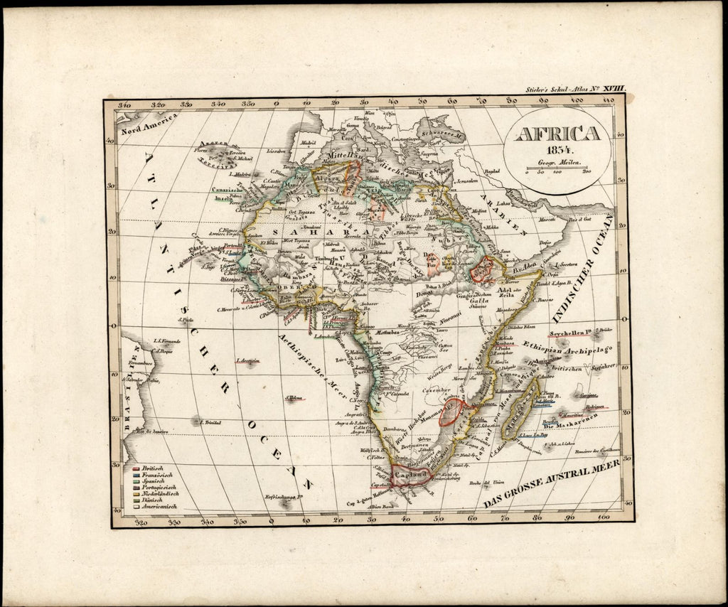 African continent Mts. of Moon Donga Colonial power old map 1834 ...