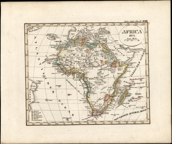African continent Mts. of Moon Donga Colonial power old map 1834 Stieler scarce
