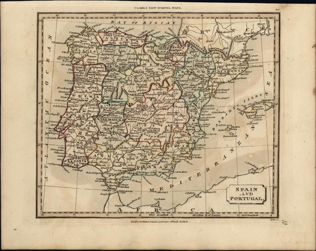 Spain and Portugal 1821 scarce antique map by J. Souter with old hand color