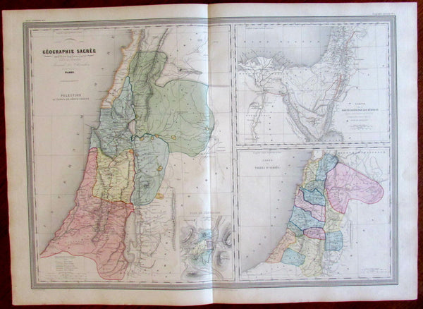 Holy Land Jerusalem Tribes c.1850-60 Dufour Dyonnet massive old hand colored map