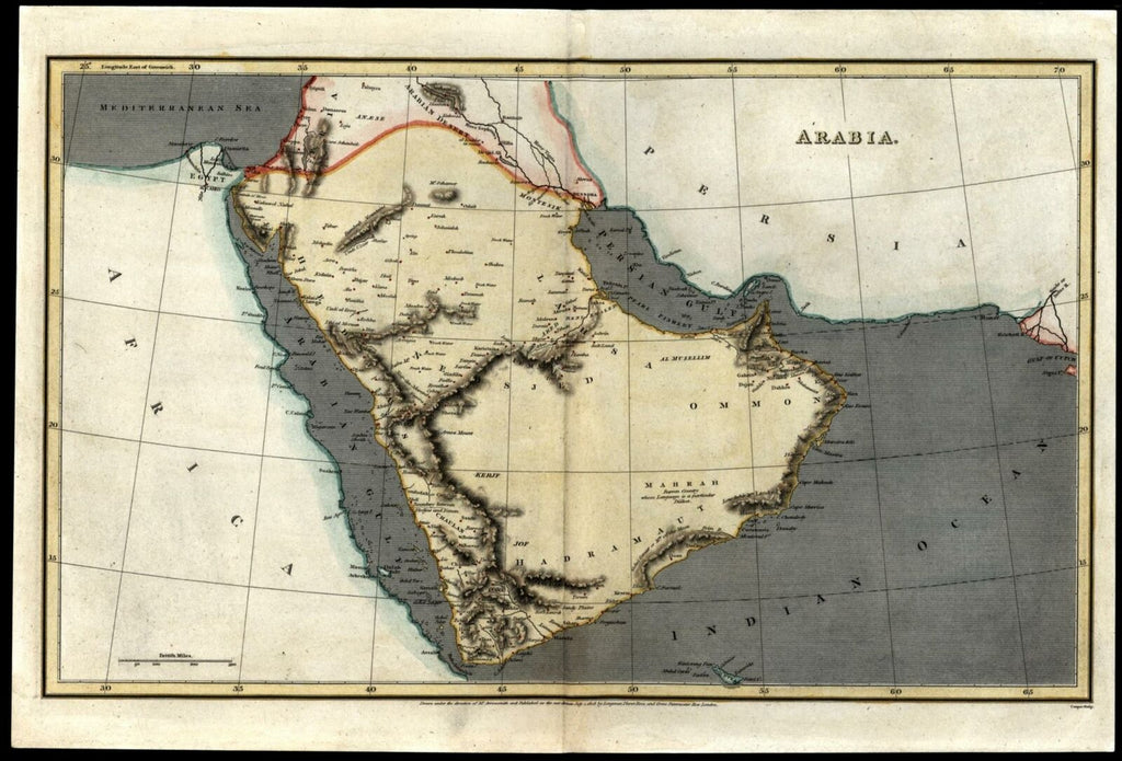 Arabian peninsula  1808 Arrowsmith map beautiful hand color