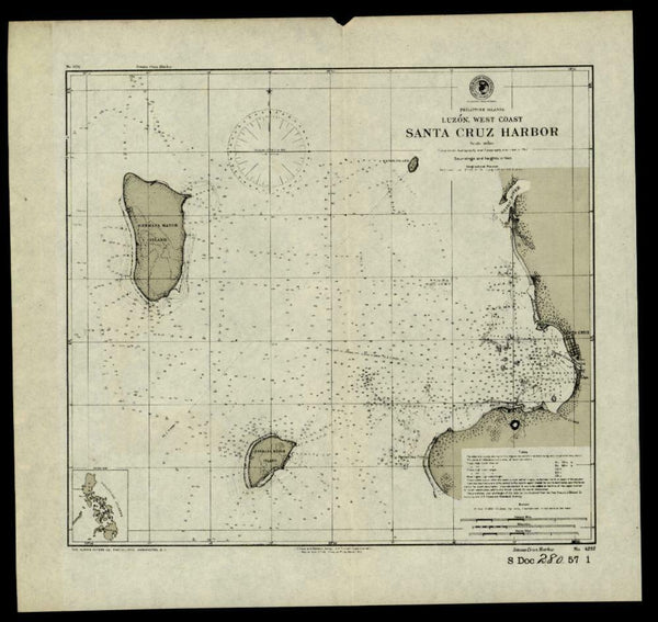 Philippine Islands Luzon West coast Santa Cruz 1902 detailed nautical chart map