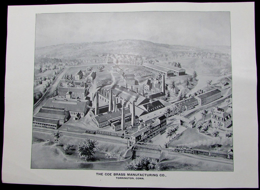 Coe Brass Manufacturing Torrington Connecticut 1893 antique birdseye view print