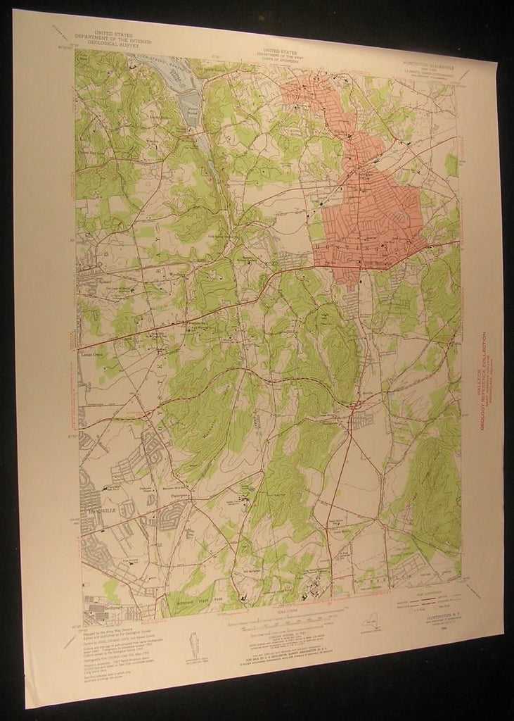 Huntington New York Cold Spring Harbor 1956 antique color lithograph map