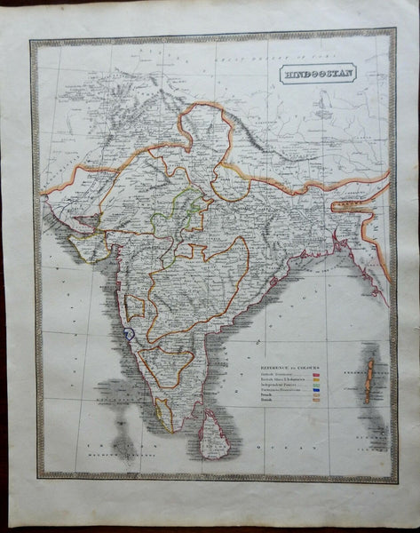 India British Raj European Colonialism Mysore Punab Bengal Goa 1846 scarce map