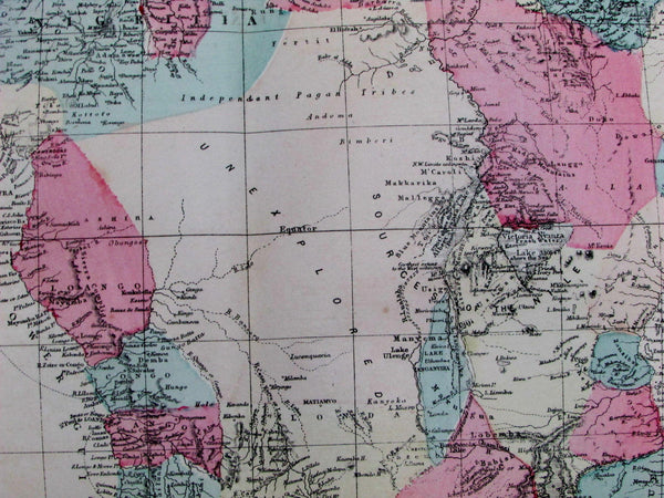 Africa Mountains of the Moon King Kong myths 1875 Weller scarce large color map