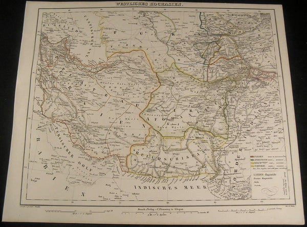 Middle East Turan Persia Iran Turkmania 1855 Flemming old antique map