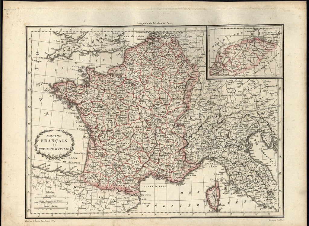 Empire France Kingdom Italy 1810 Tardieu Malte-Brun fine vintage antique map