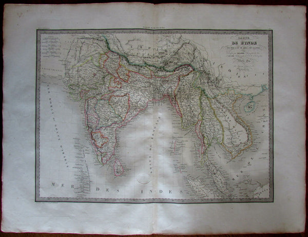 Southeast Asia Siam Laos Hindoostan India Anam Burma 1829 Lapie fine antique map
