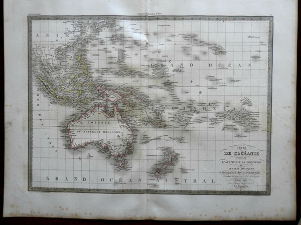 Oceania Australia New Zealand Malaysia Philippines 1829 Lapie large folio map