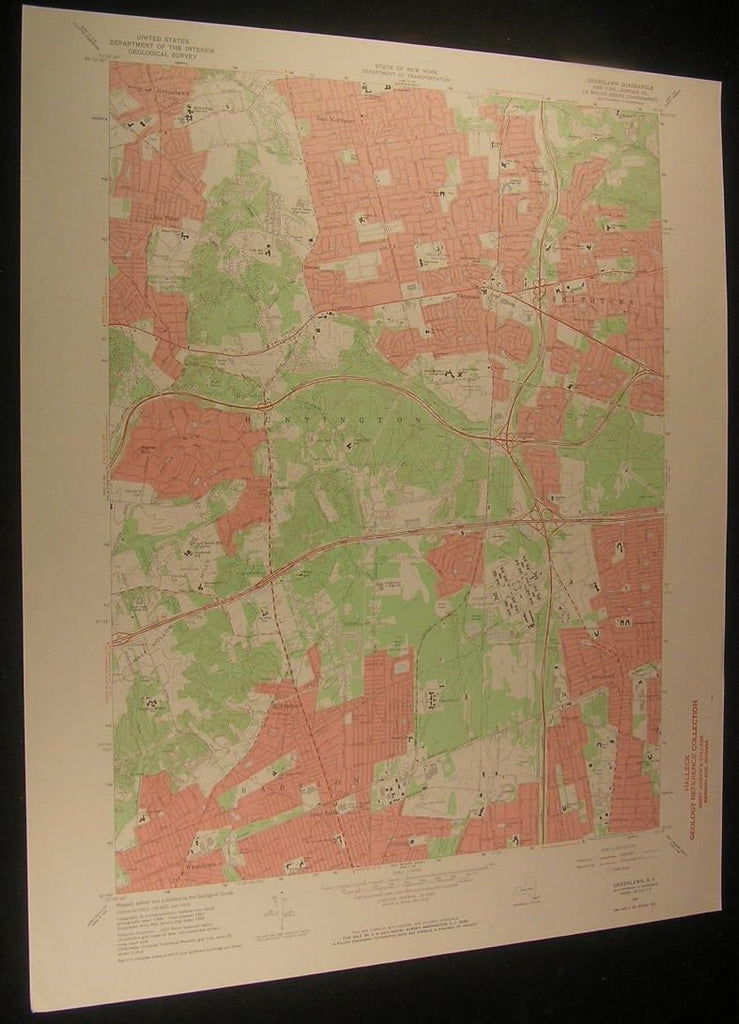 Greenlawn New York Deer Park Smithtown 1971 antique color lithograph map