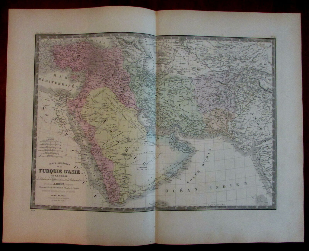Arabia peninsula Ottoman Empire Middle East Turkey c.1840 Brue detailed map