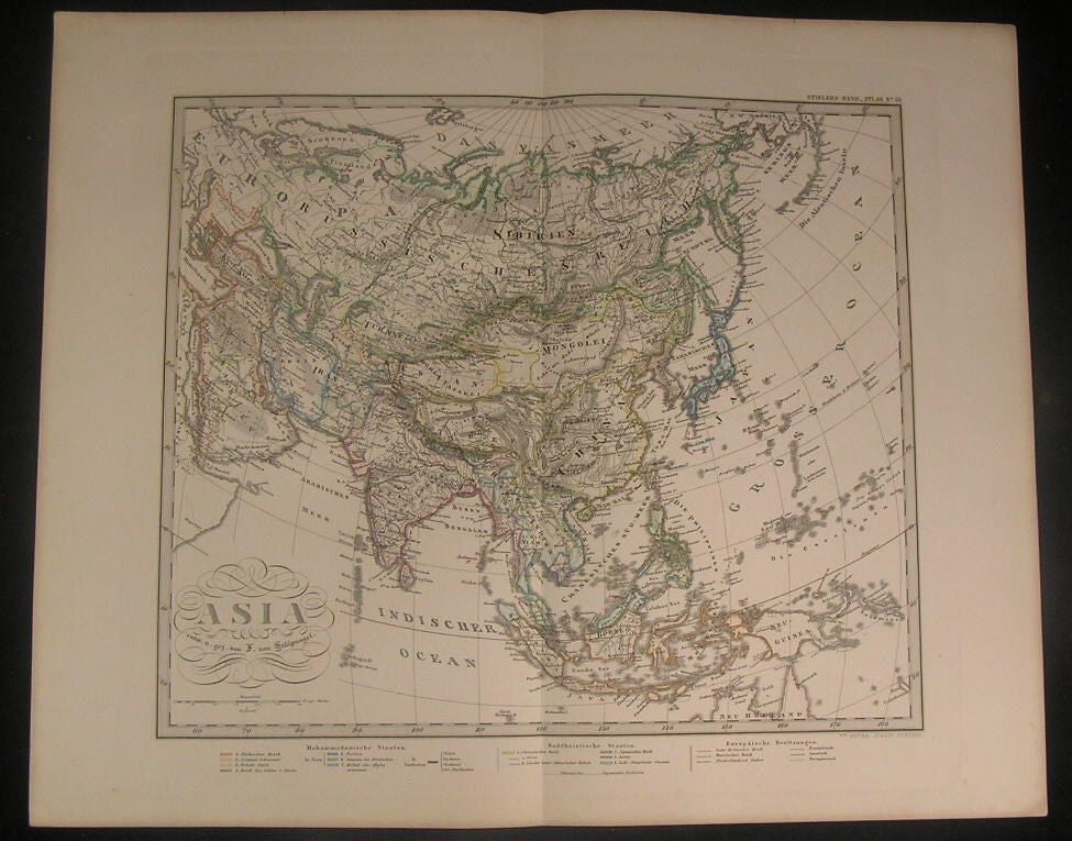 Asia 1876 Stulpnagel antique color map Arabia to China Japan SE Asia India Iran
