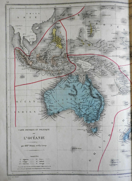 Australia New South Wales Polynesia Australia Malaysia Oceania 1872 Belin map