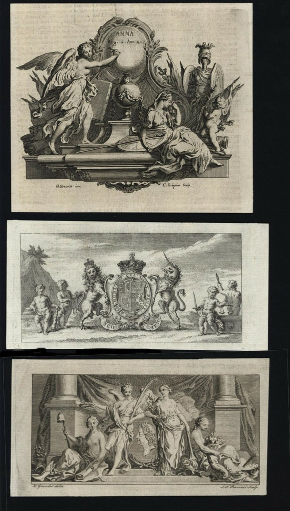 Allegory Allegorical prints 1751 lot x 4 cherubs angels unicorn goddesses lion