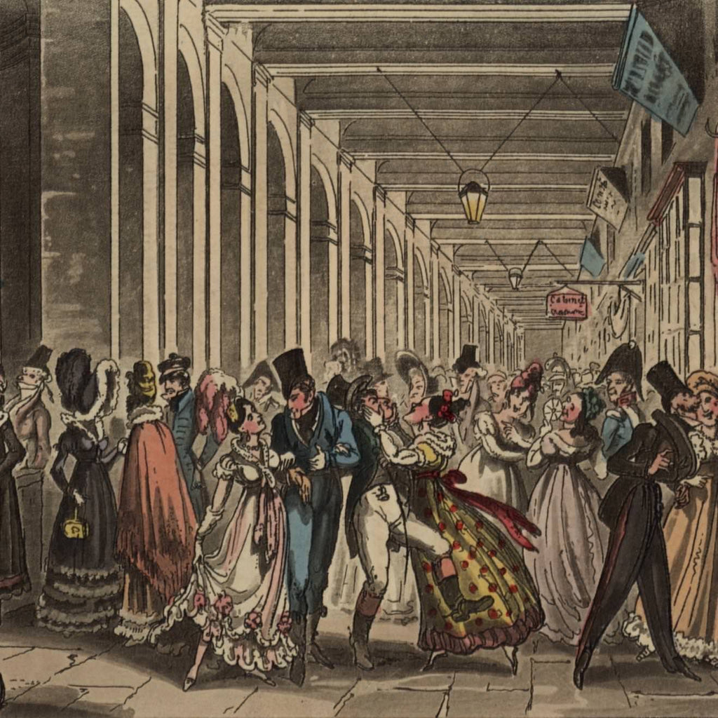 Paris Palais crowd bills 1829 Cruikshank miniature hand color old aquatint print