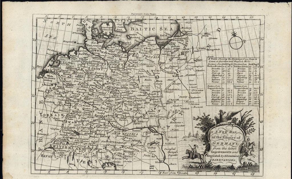 Empire of Germany decorative 1768 antique engraved map w/ cartouche