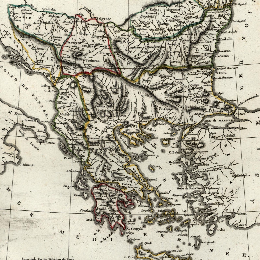 Balkans Serbia Croatia 1804 Greece Turkey in Europe old engraved map hand color
