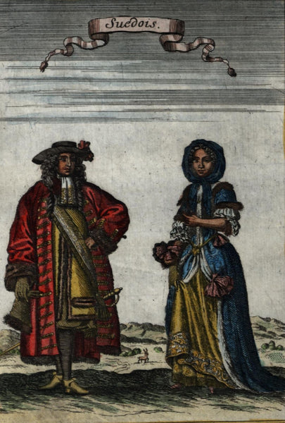Sweden Swedish natives Swedes 1719 old Mallet Ethnic costume hand color print
