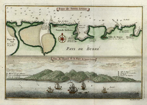 Sierra Leone West Africa Colonialism Slave & Warships 1746 Bellin map and view