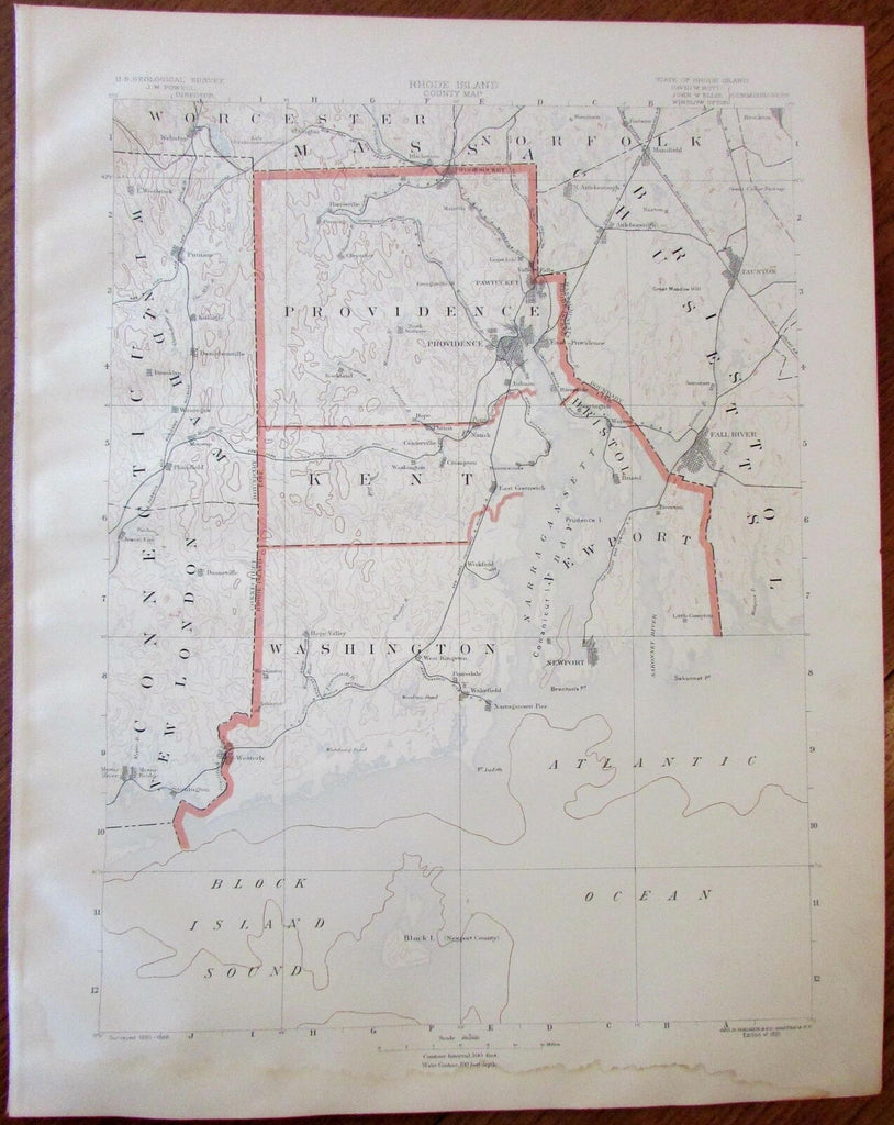 Rhode Island state Providence Kent Washington Newport 1891 Topographical map