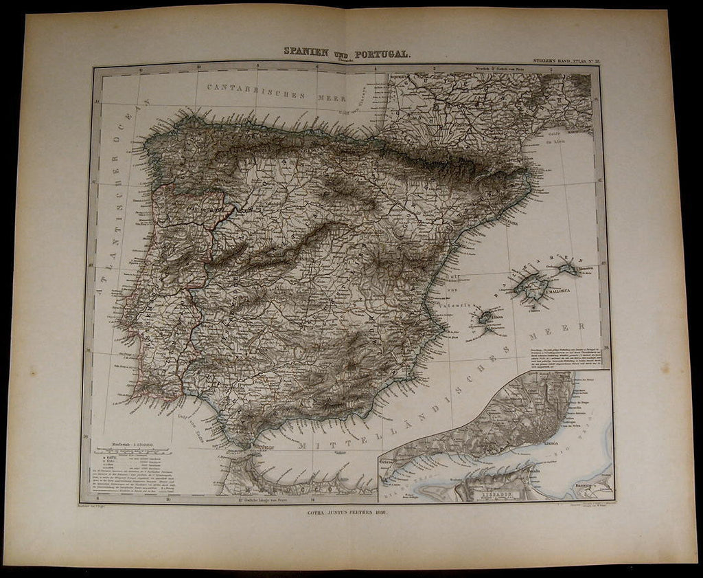 Spain Portugal Strait of Gibraltar Lisbon nice 1880 fine old detailed map