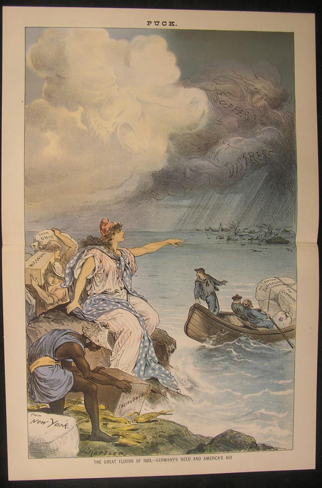 Great Floods Germany Charity America Aid 1883 antique color lithograph print