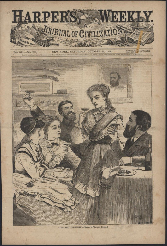 Our Next President Champagne Drinking Homer 1868 antique wood engraved print