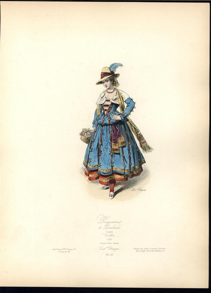 Lombardy Fashion Beautiful Woman Vibrant c.1870 antique hand color costume print