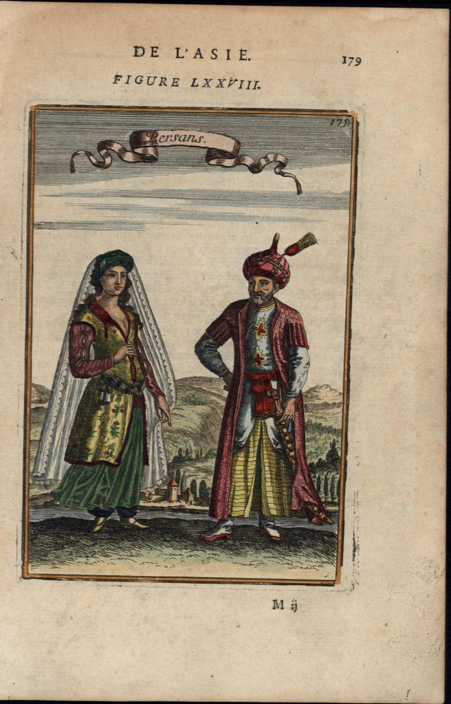 Persians Iranians traditional dress beautiful 1683 Mallet old antique print