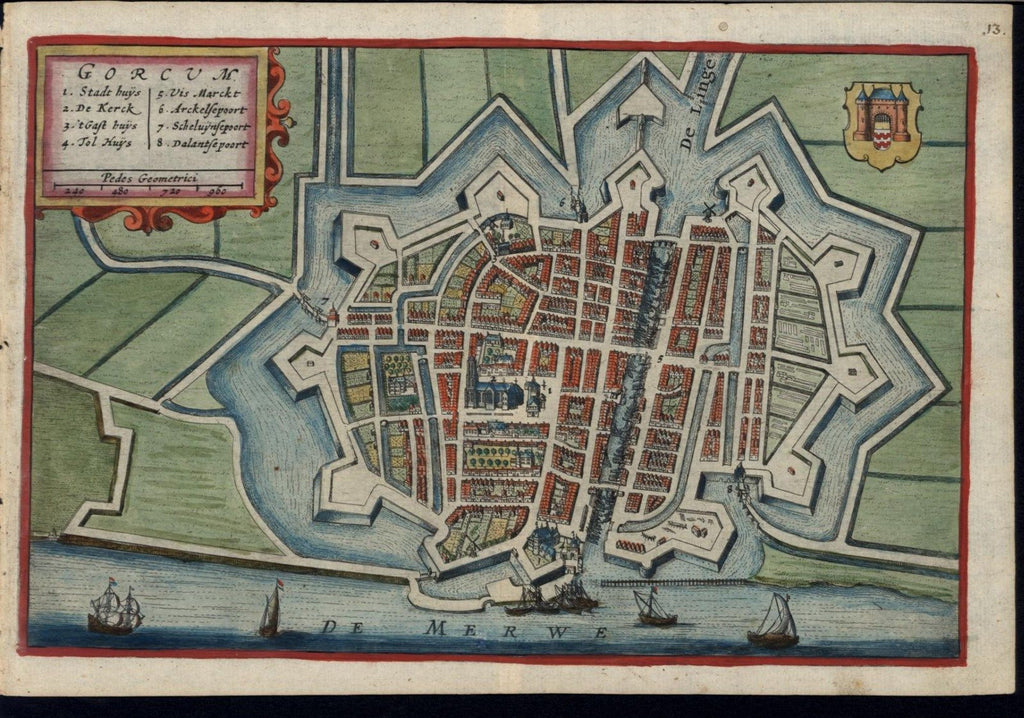 Gorinchem Netherlands 1632 Boxhorn fine old vintage antique city plan