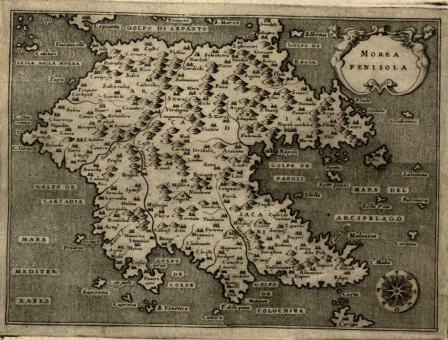 Morea Peloponnese Greece 1576 Porcacchi miniature map