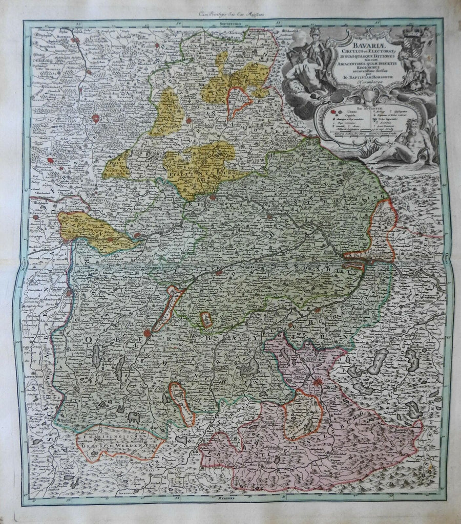 Electorate of Bavaria Holy Roman Empire Munich c 1750 Homann decorative map