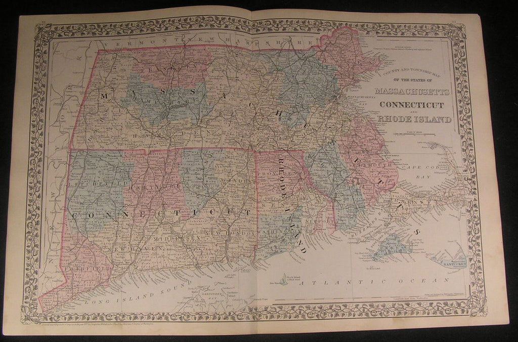 Massachusetts Connecticut Rhode Island 1878 antique Mitchell hand color map