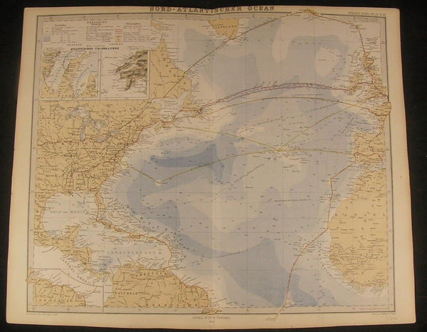 North Atlantic Ocean Commerce Routes 1868 antique lithograph hand color map