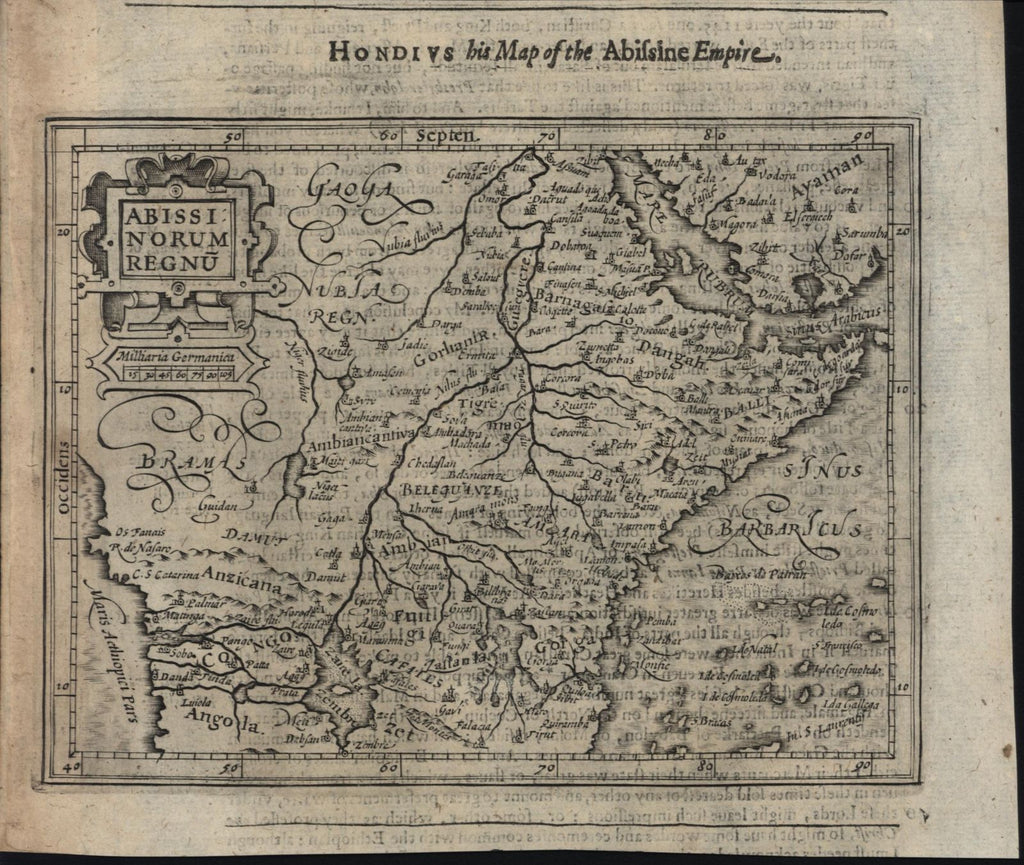 West Africa Kingdom Abyssinia 1626 Purchas Hondius scarce miniature map