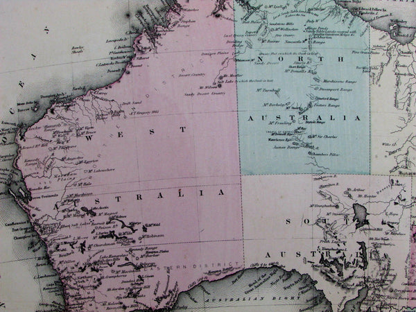 Australia New South Wales Tasmania Van Diemen's Land counties c.1877 scarce map