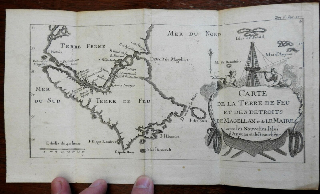 Tierra del Fuego South America Straits of Magellan c. 1756 engraved map