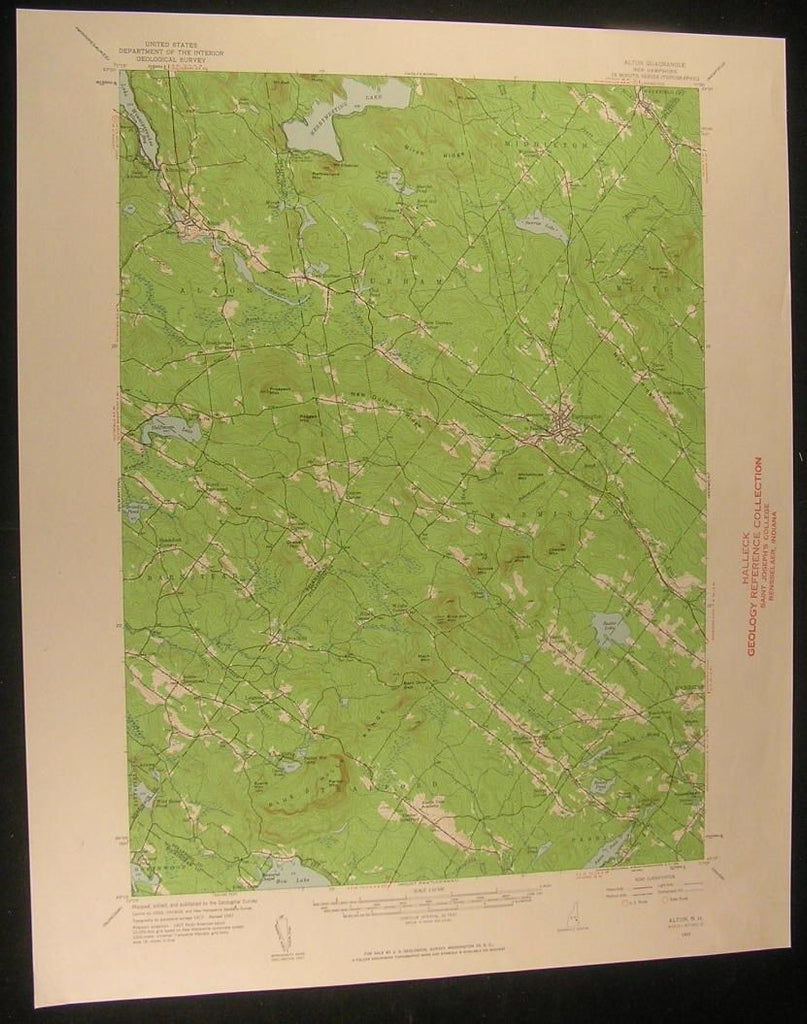 Alton New Hampshire Rattlesnake Mountain 1961 antique color lithograph map