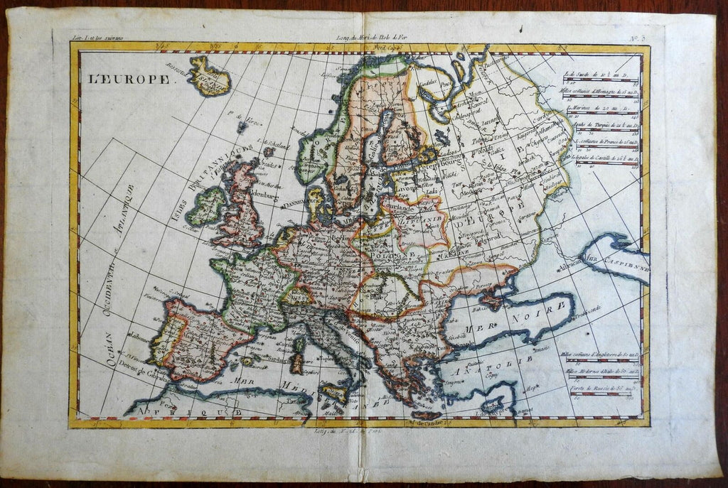 Europe British Isles Holy Roman Empire Russia France Ottomans 1780 Bonne map