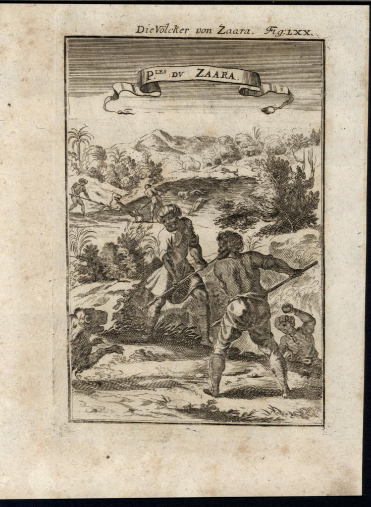 People of Sahara Hunting Lions Lush Landscape 1719 antique Mallet World print