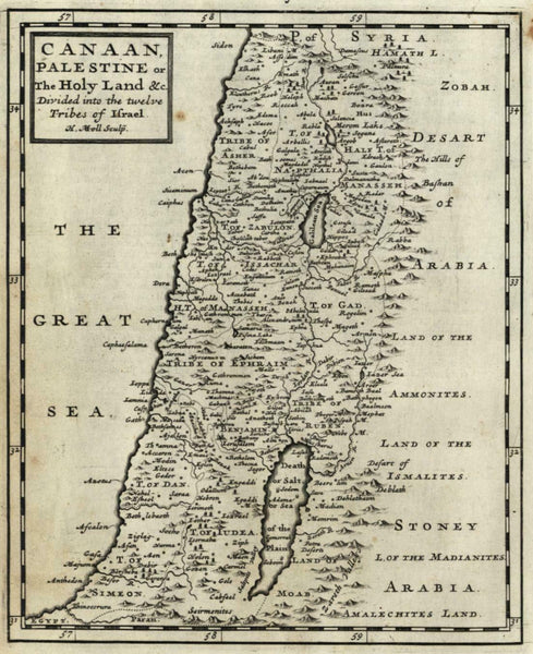 Holy Land Jerusalem Canaan Twelve Tribes divisions 1701 Moll miniature map