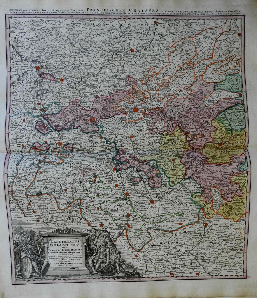 Germany Electorate of Mainz Holy Roman Empire c. 1750 Homann detailed folio map
