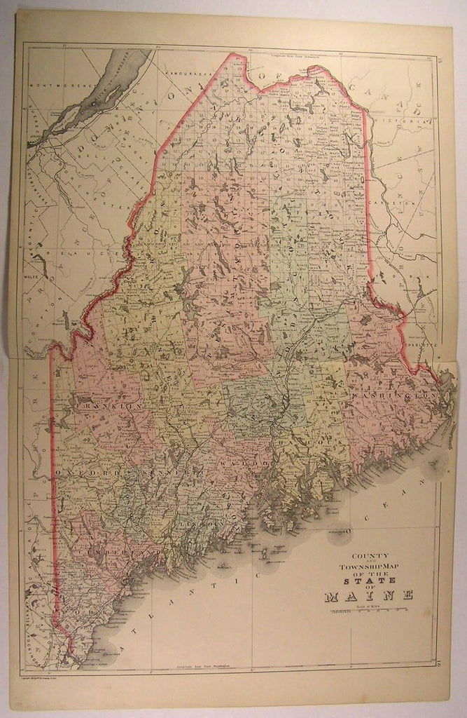 Maine Counties Townships Portland Mt. Desert Island 1887 antique folding map