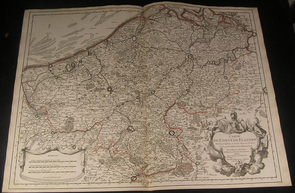 Flanders Belgium North France 1704 huge de L'Isle fine antique old color map